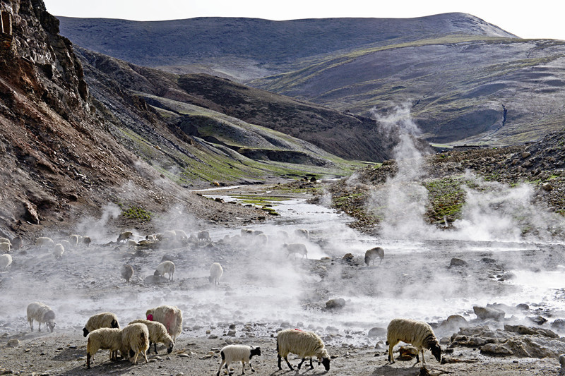 Kawu Dharmaraja Hot Spring in Sa'gya County, Shigatse