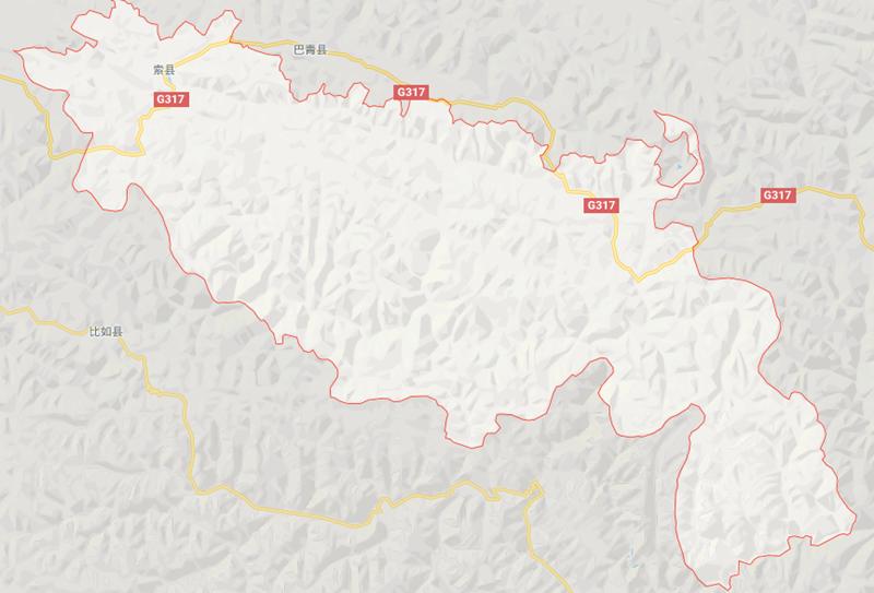 Region Map of Sog County in Nagqu City