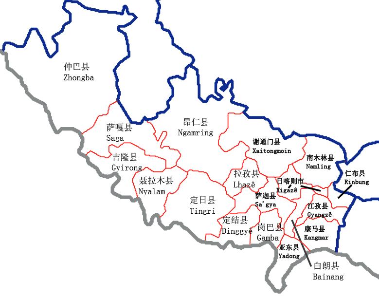 Shigatse Administrative Map