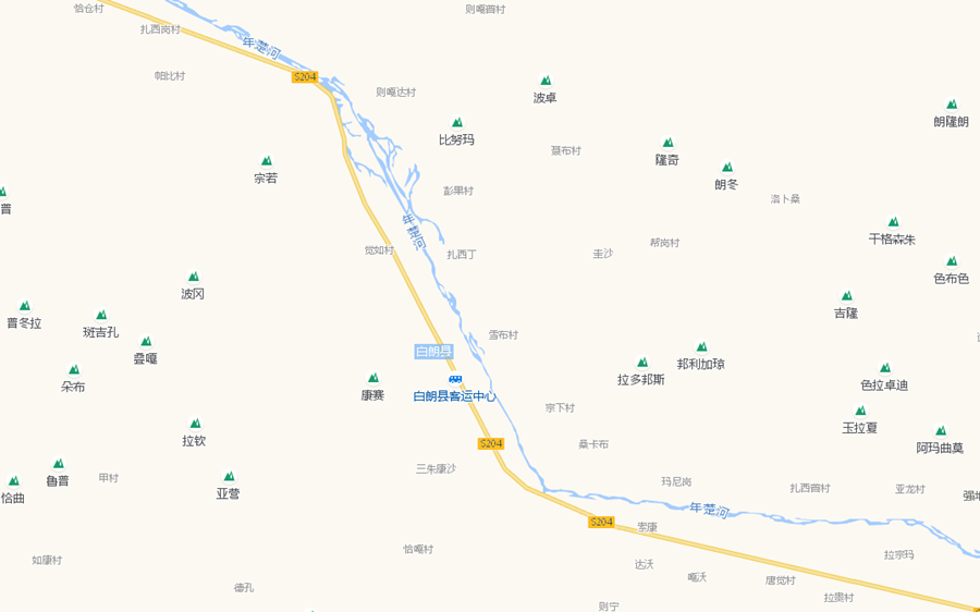 Tourist Attractions Map of Bainang County in Shigatse City