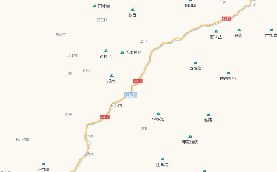 Tourist Attractions Map of Jomda County in Qamdo City