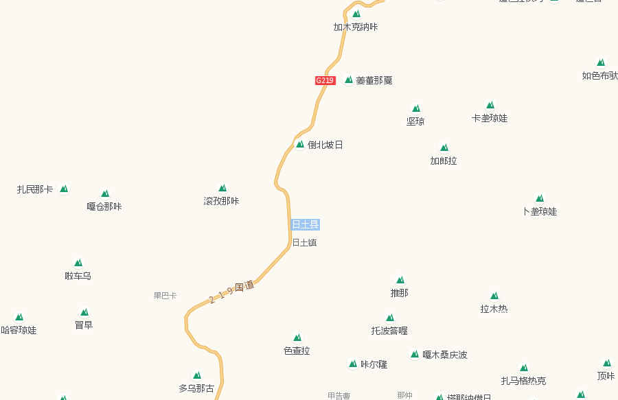 Tourist Attractions Map of Rutog County in Ngari Prefecture
