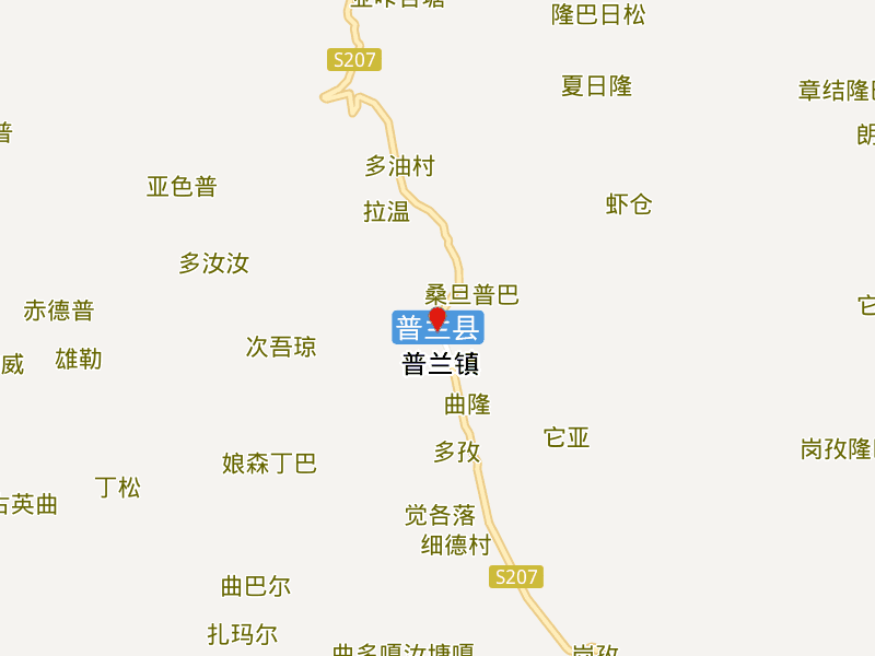 Transportation Map of Burang County in Ngari Prefecture